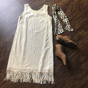 Vintage fringe gold and white zebra dress